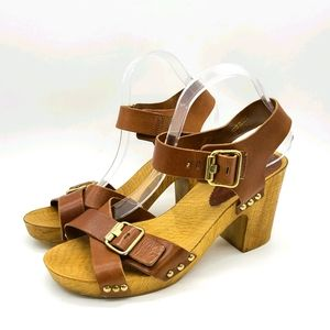 Aldo Made in Italy Wood and Leather Sandals